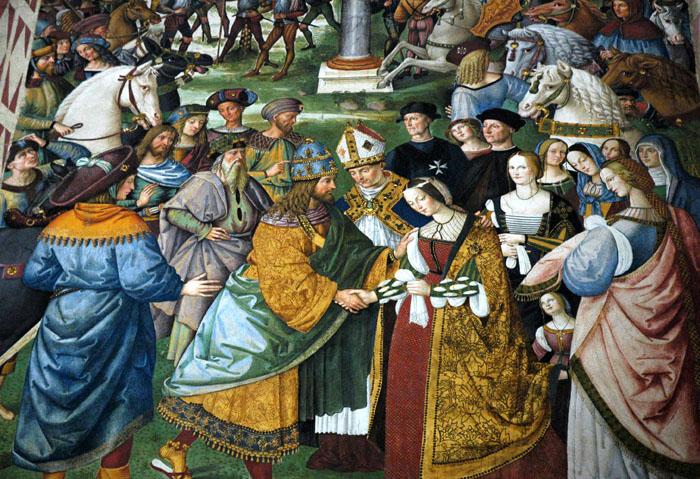Freski na ścianie biblioteki arcybiskupa Sieny